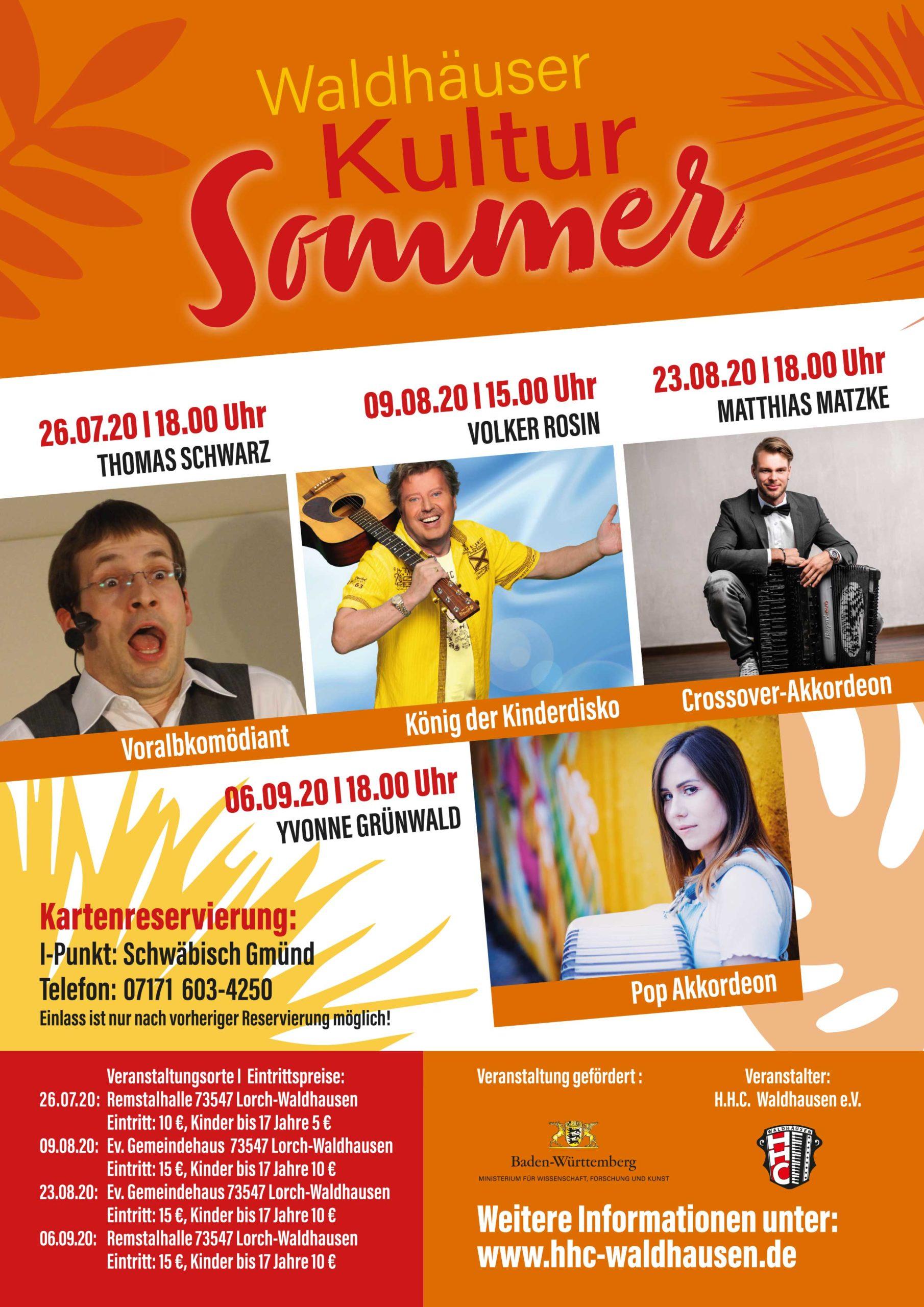 """Waldhäuser Kultur-Sommer 2020: """"Der König der Kinderdisco"""" – Volker Rosin"""